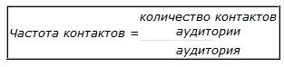 Частота контактов - это отношение количества контактов аудитории к аудитории