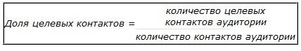 Доля целевых контактов - отношение количества целевых контактов к количеству контактов