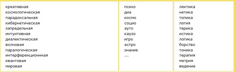 Прилагательное из первого столбца + составное слово из второго и третьего столбцов